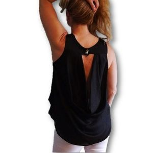 Tops - 5 for $25! Black Sleeveless waterfall back top!
